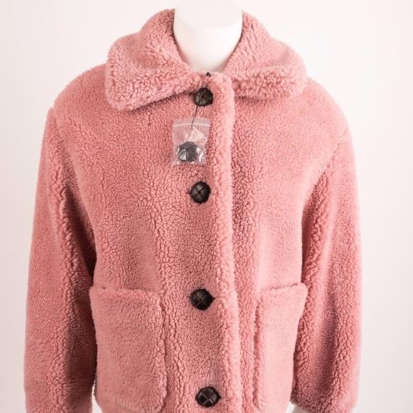 edf0b377 Zara Jackets & Coats | Womans Teddy Coat Small Pink Fleece Sherpa ...